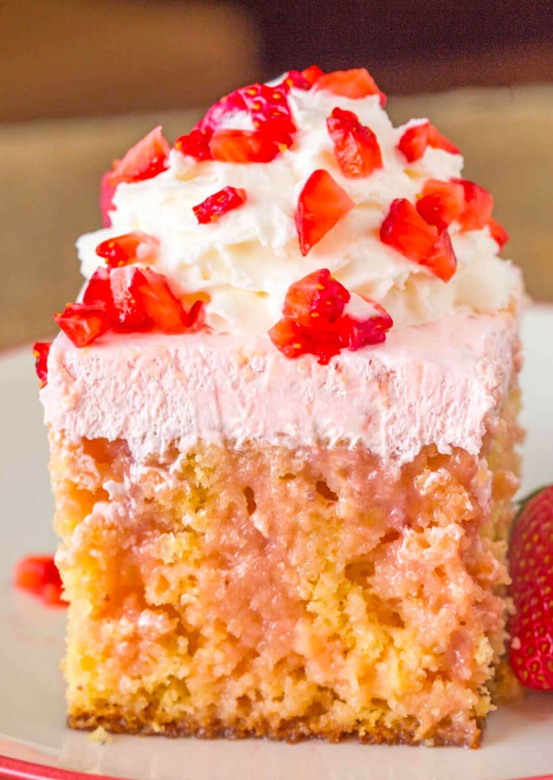 Strawberry Poke Cake - delicious WW Dessert