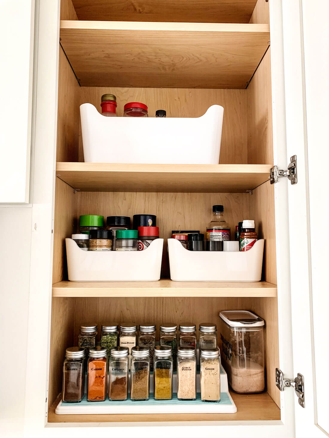 How to organize your spice rack - before adding vinyl to the containers.