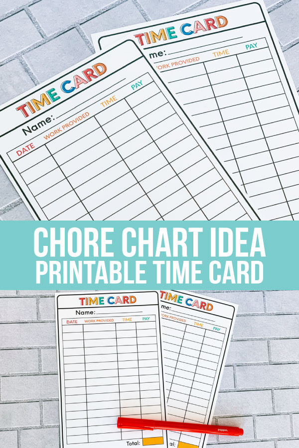 Chore List idea - Printable Time Cards to help kids learn how to work. www.thirtyhandmadedays.com