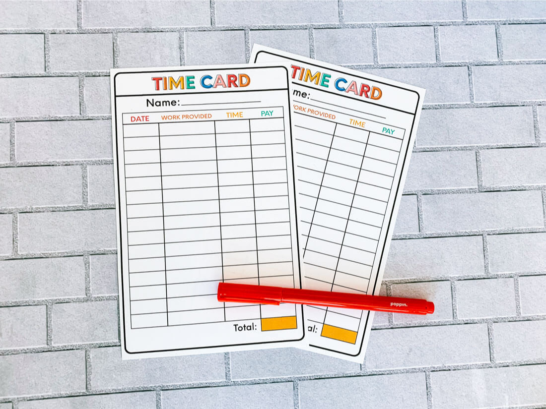 image regarding Time Card Printable titled Chore Listing Principle: Printable Season Card