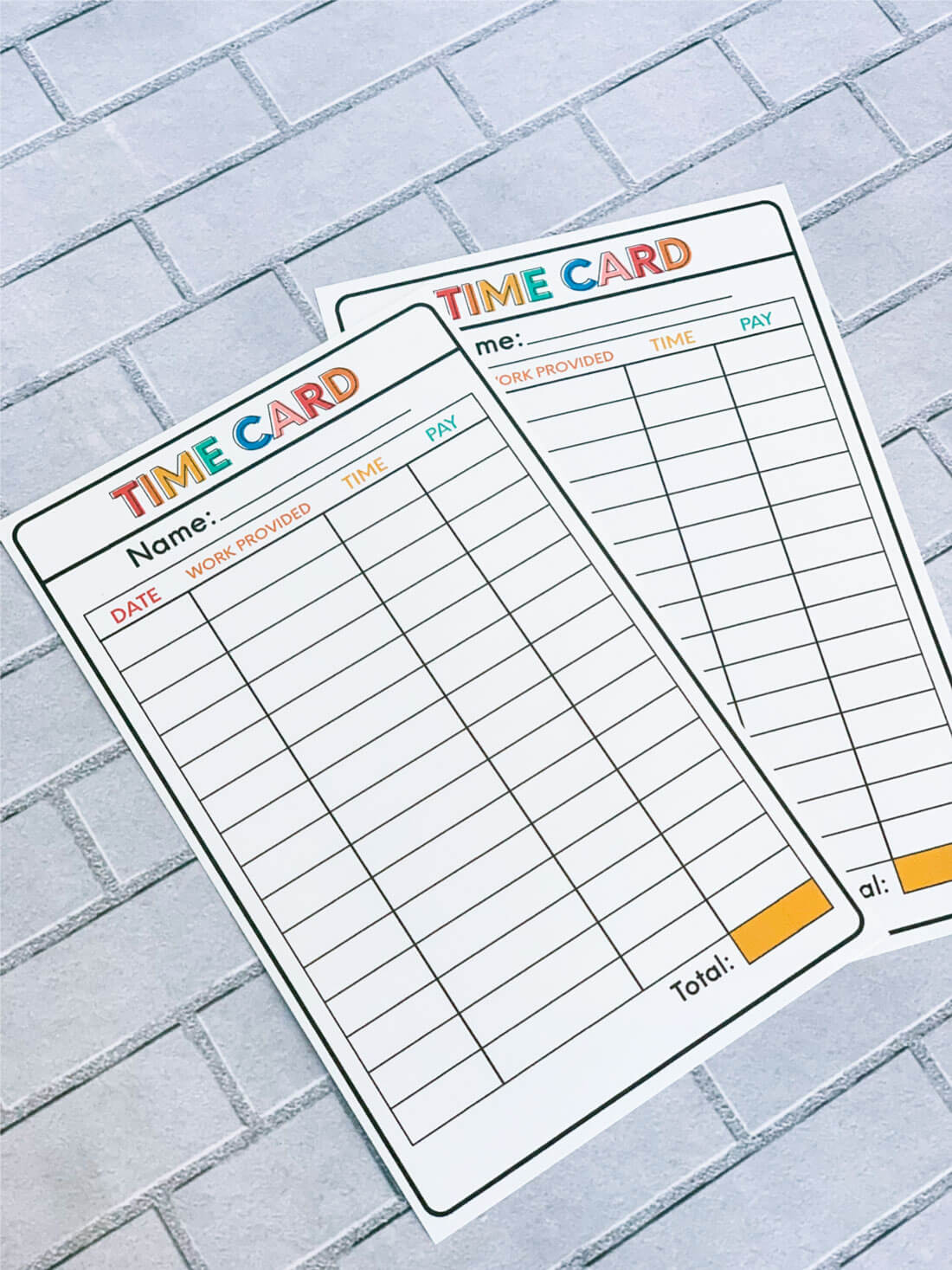 Chore Idea - Printable Time Cards to help kids learn how to work. www.thirtyhandmadedays.com