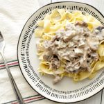 Ground Beef Stroganoff with noodles on a plate