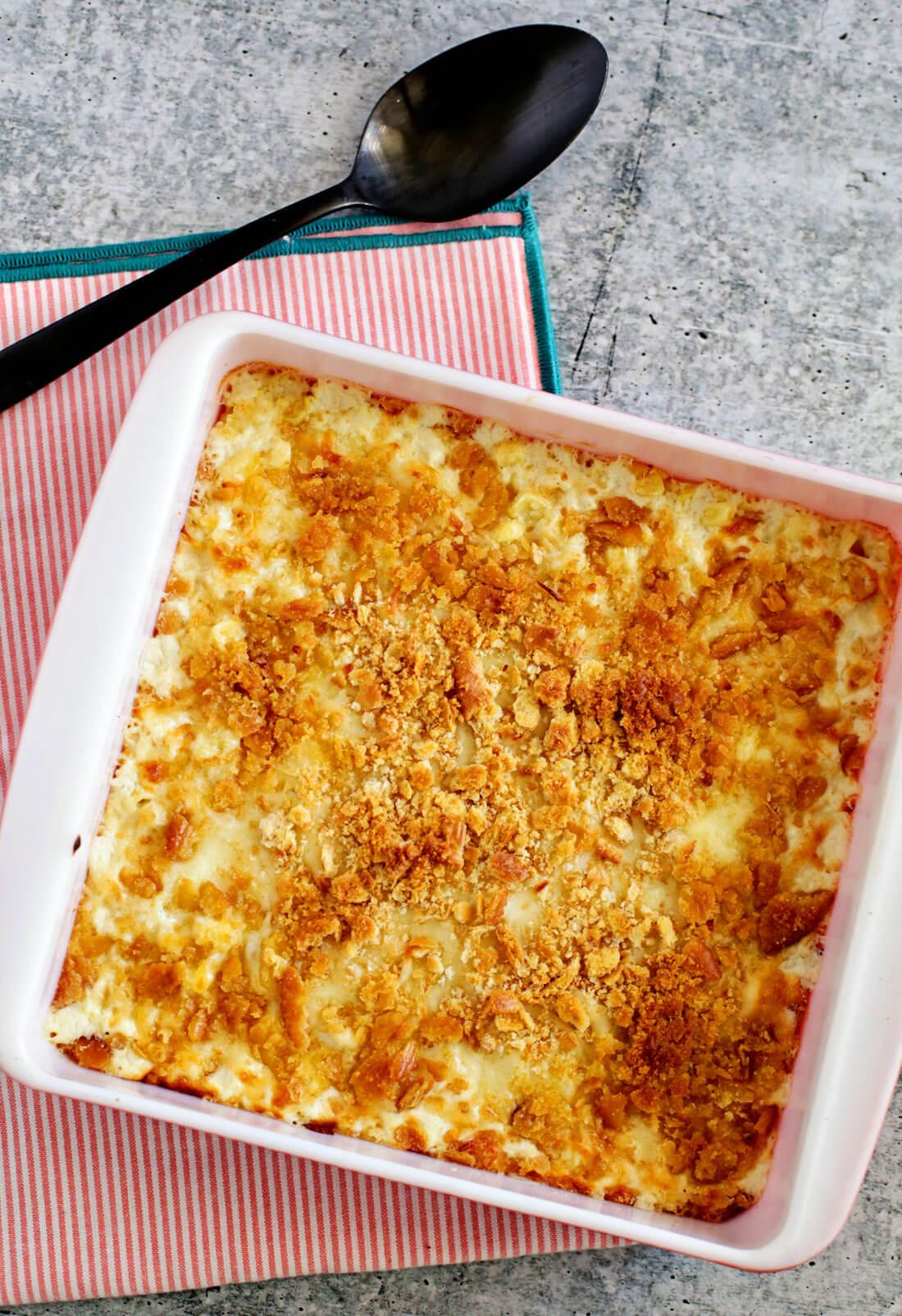 Full pan of creamed corn casserole