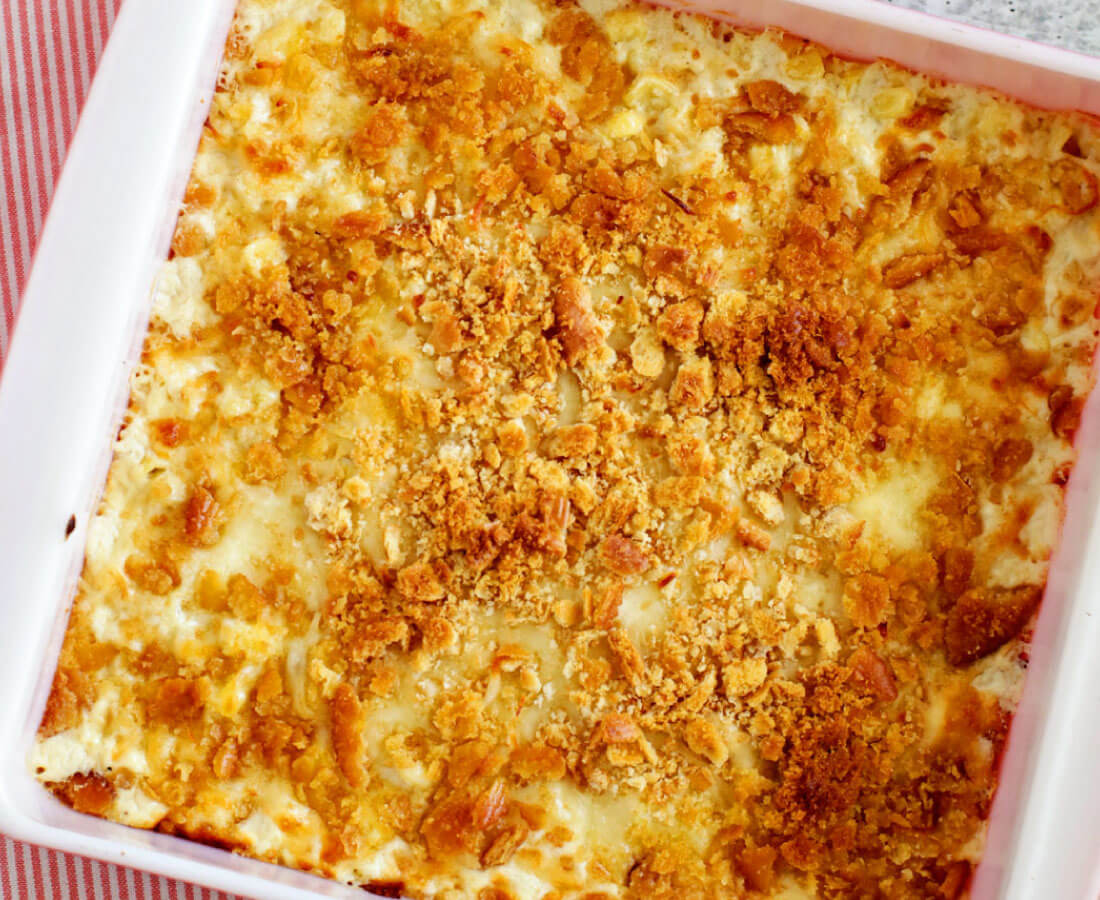 Creamed Corn Casserole in an 8x8 dish, perfect side dish
