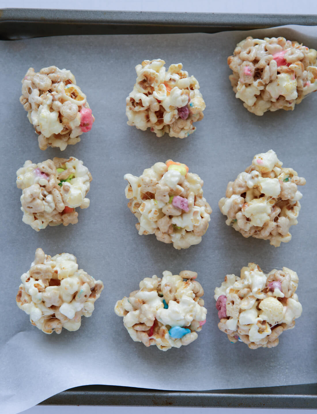 How to make popcorn balls - put on parchment paper