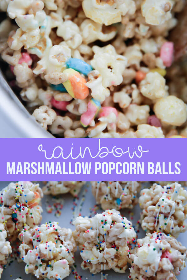 Rainbow Marshmallow Popcorn Balls - ooey gooey, delicious and easy to make. www.thirtyhandmadedays.com