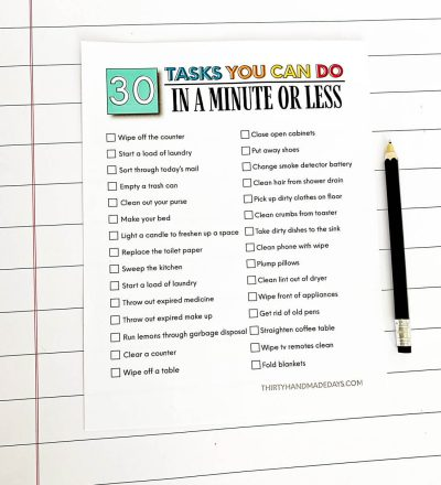 Printable task list to tackle in one minute or less