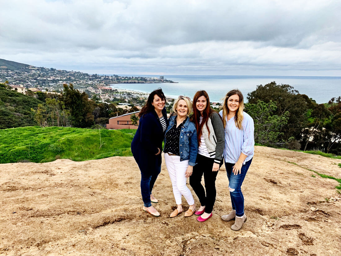 Traveling with friends - 4 of us overlooking La Jolla Cove with Tieks shoes