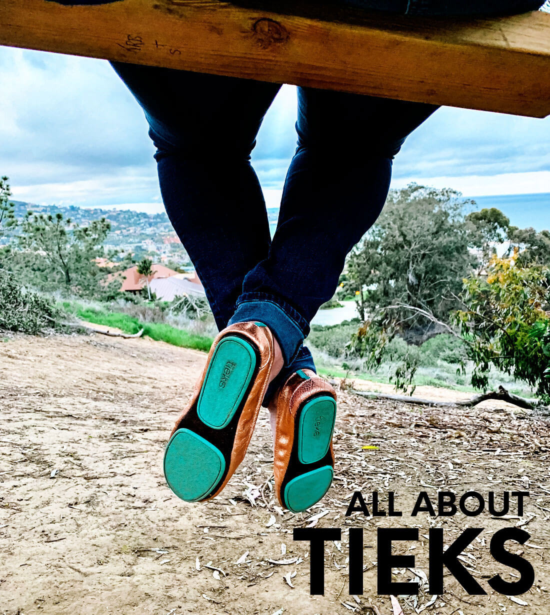 Tieks shoes up close overlooking the La Jolla Cover