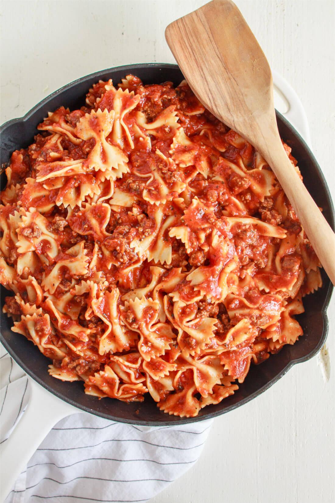 Bow tie pasta lasagna - ready to go