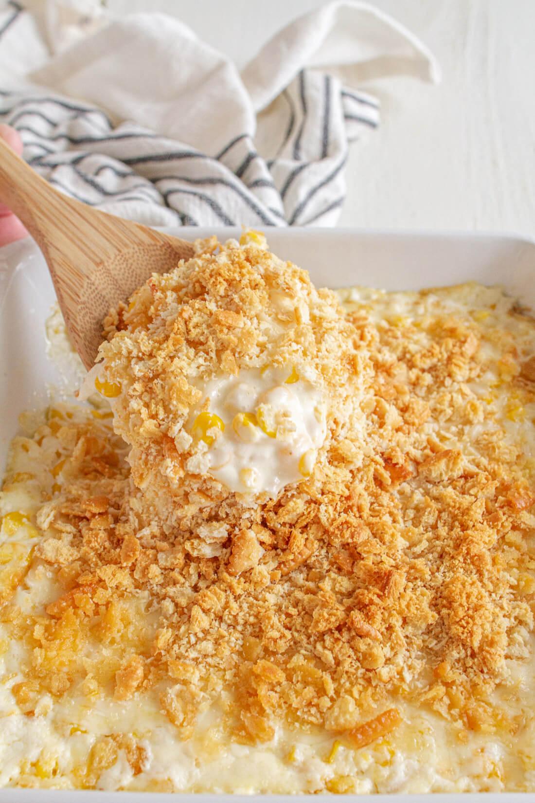 Up close creamed corn casserole