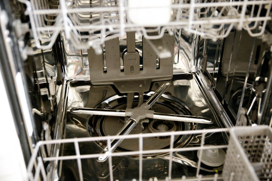 Clean the inside of the dishwasher