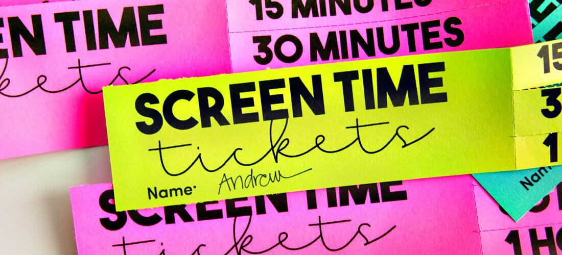 Screen Time for Kids Printable Tickets