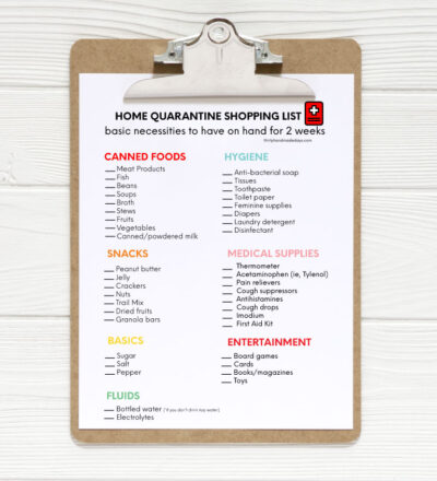 Home Quarantine Shopping List