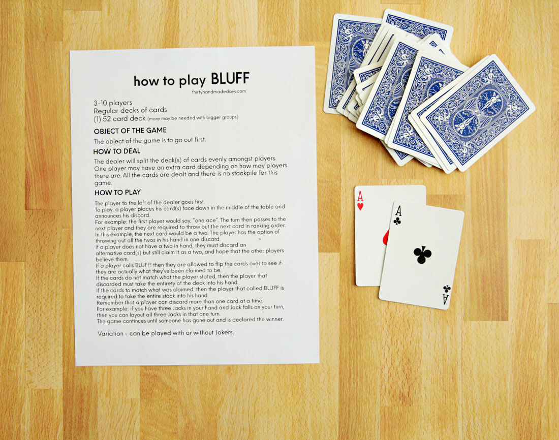 Card Games for Kids - Bluff Printable