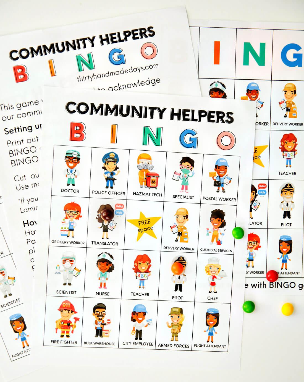 How to play BINGO - community helpers