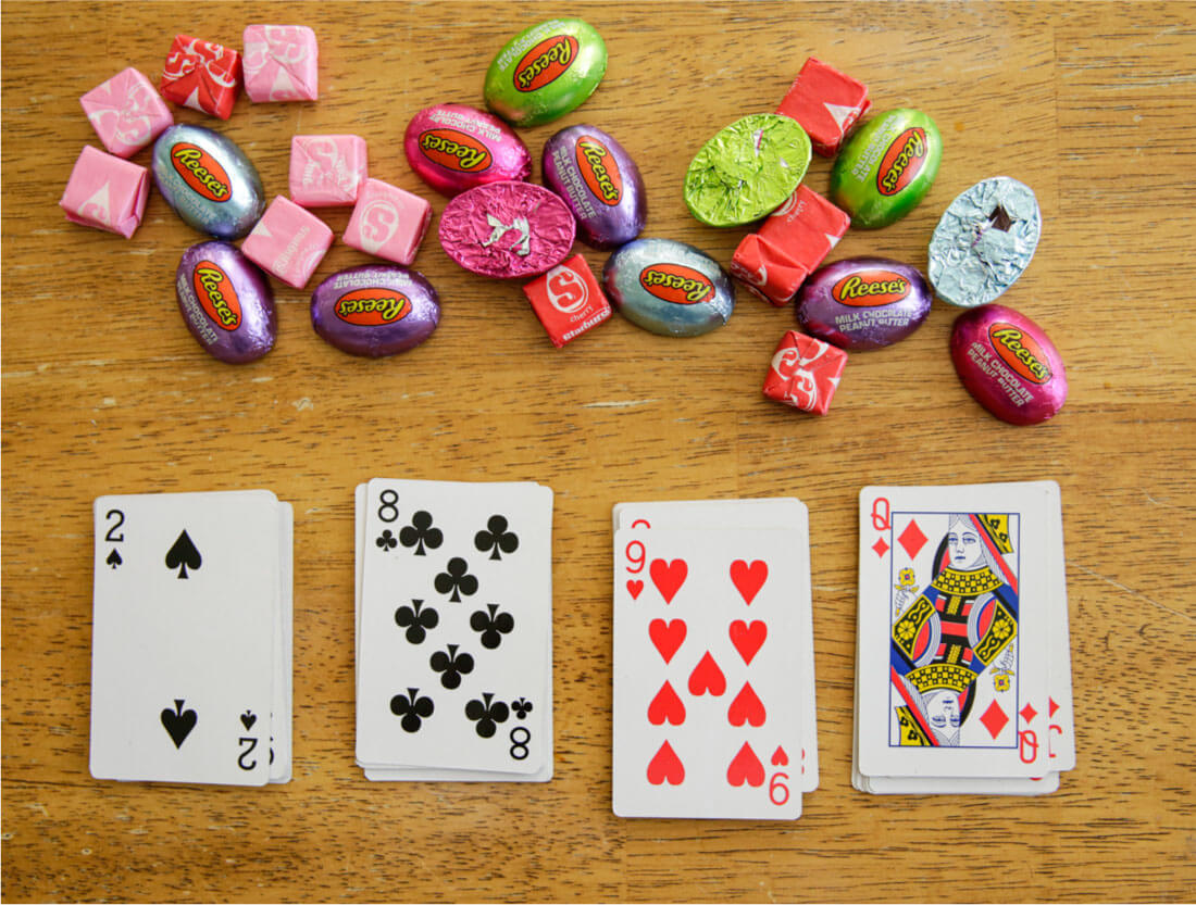 Playing cards and candy