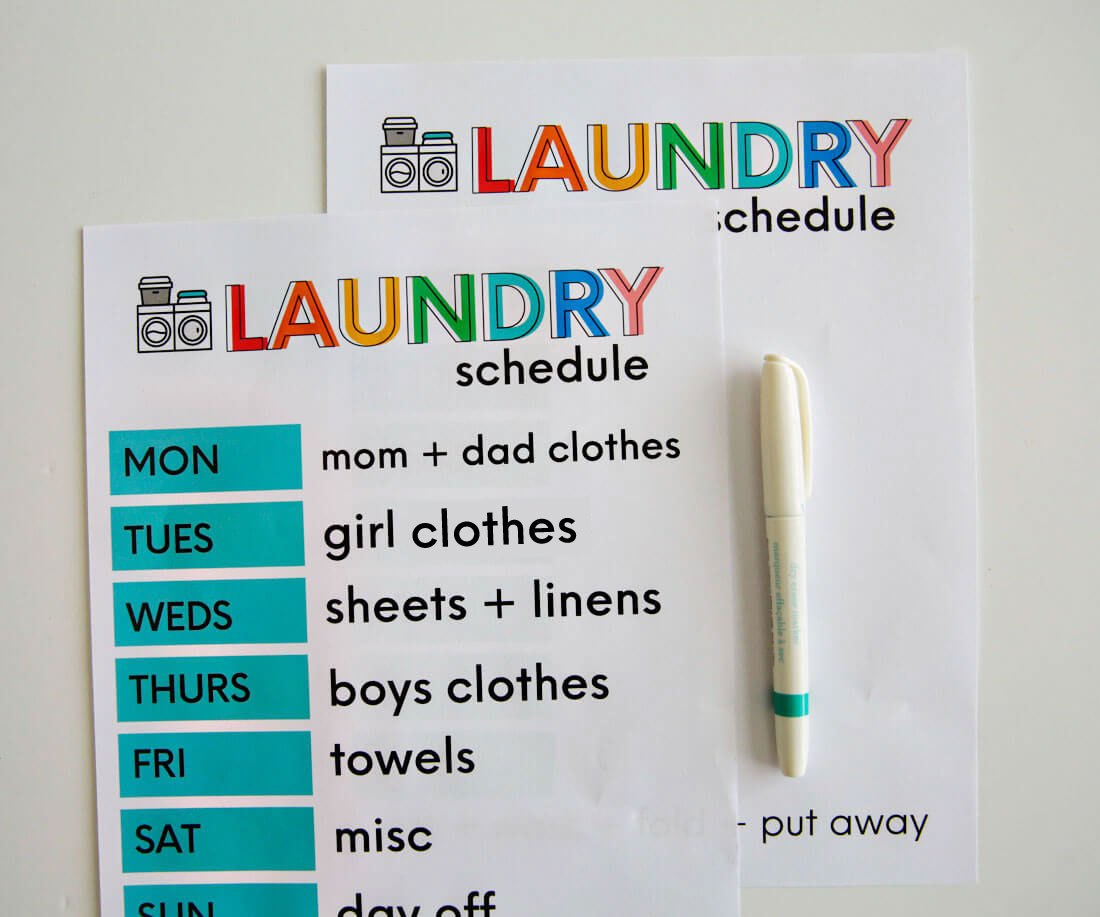 Printable Laundry Day Schedule