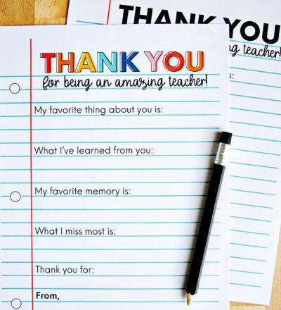 Printable Teacher Appreciation Letter