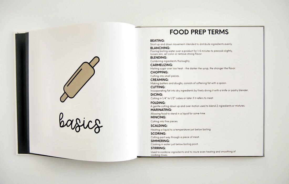 Basics for editable recipe book template