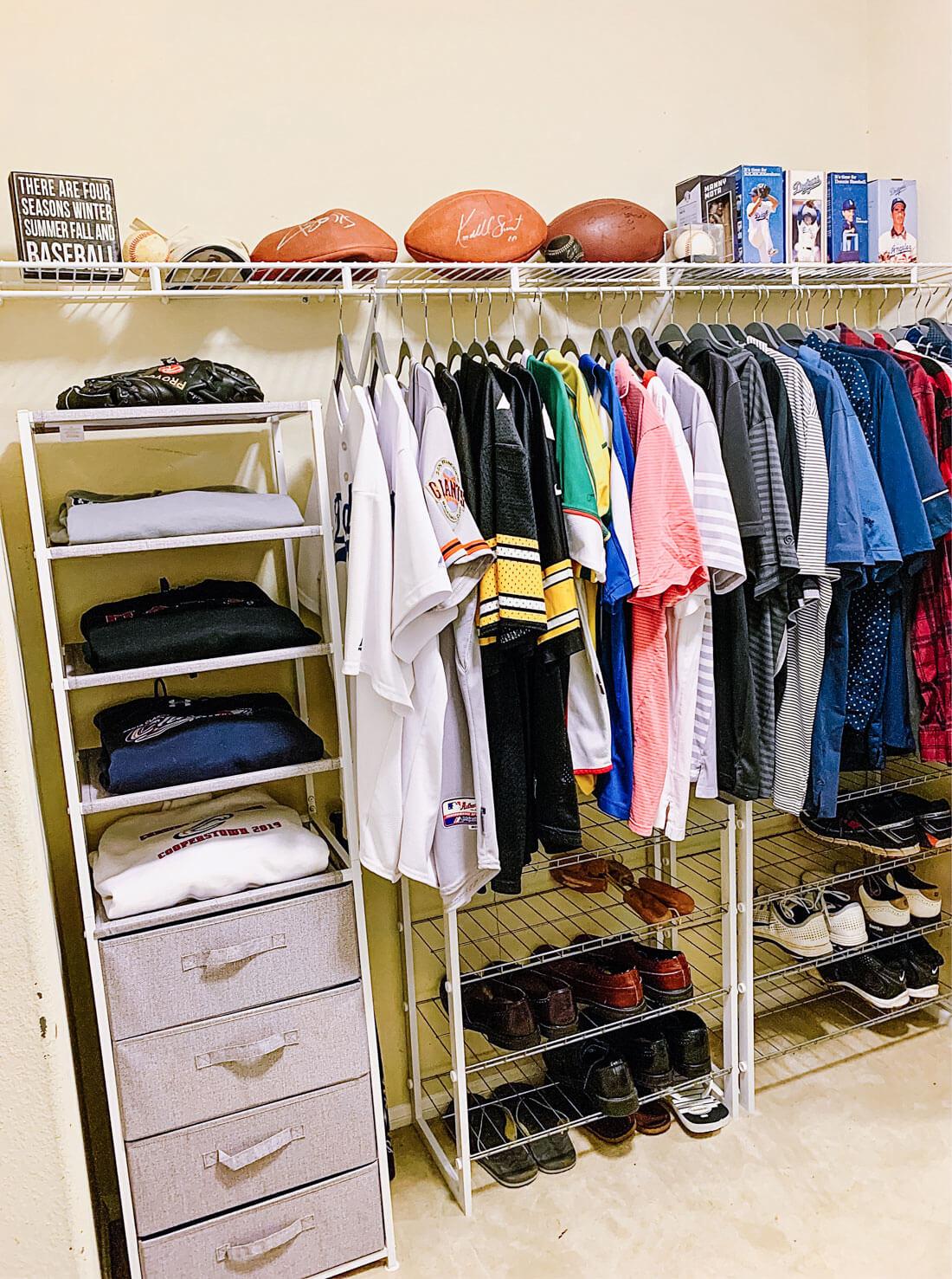 Husband's side closet organization