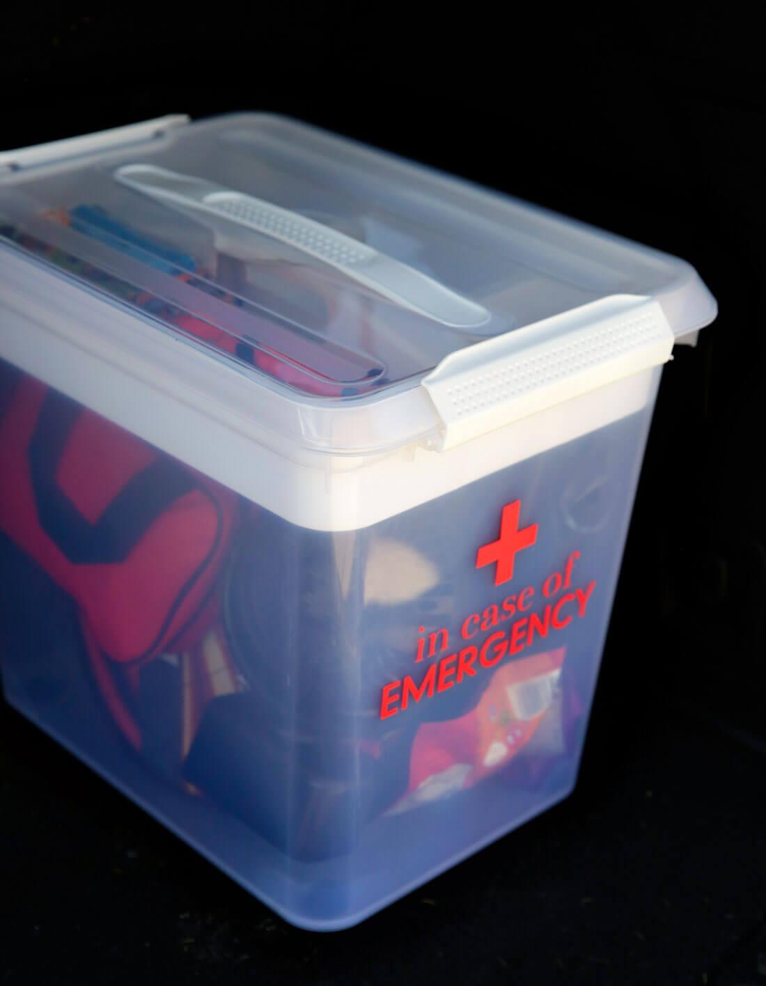 Car emergency kit in the car